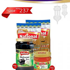 National Black Currant Jam 440g + Mix Fruit Jam 200g + 2 Vermicelli
