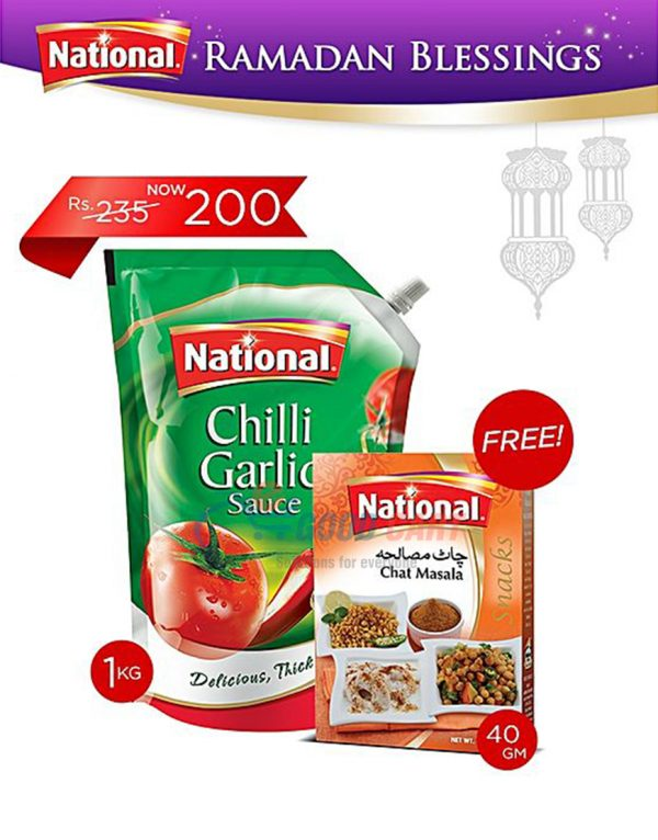 National Chilli Garlic Sauce 1kg + Free Chat Masala 40g