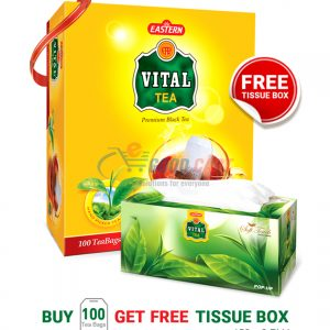 Vital Premium Black Tea Bags 200g (Pack of 100) with FREE Tissue Box