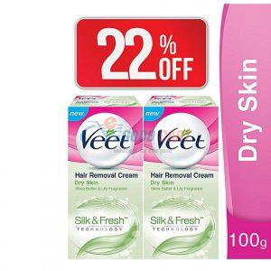 Veet Pack Of 2 Silk & Fresh Cream For Dry Skin 100g
